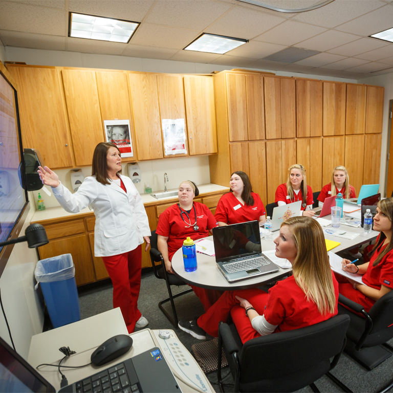 Nursing students in Vera Z. Dwyer College of Health Sciences